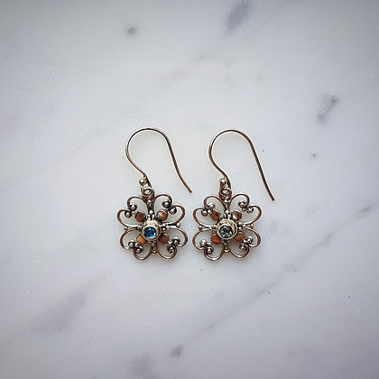 (Style 10) Blue Topaz Drop Earrings in Sterling Silver
