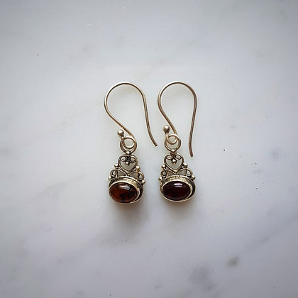 (Style 9) Amber Drop Earrings in Sterling Silver