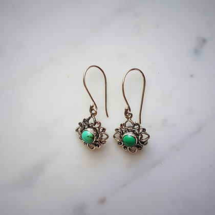 (Style 11) Turquoise Drop Earrings in Sterling Silver