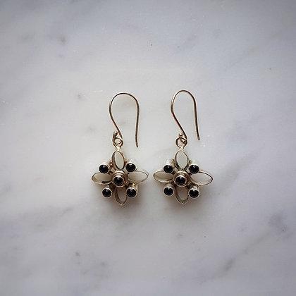 (Style 6) Black Onyx Drop Earrings in Sterling Silver