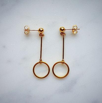 Drop Hoop Stud Earrings in Gold