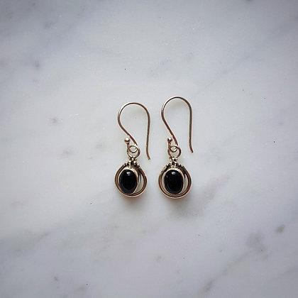 (Style 15) Black Onyx Drop Earrings in Sterling Silver