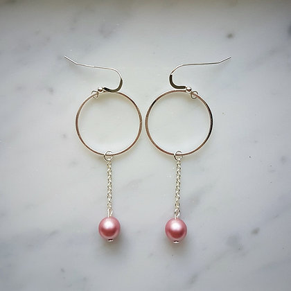 Pearl Drop (Powder Rose) Hoop Hook Earrings in Silver