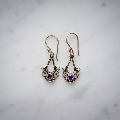 (Style 13) Amethyst Facet Drop Earrings in Sterling Silver