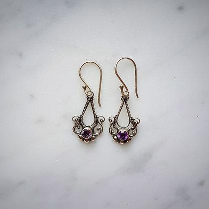 (Style 13) Amethyst Facet Drop Earrings in Sterling Silver