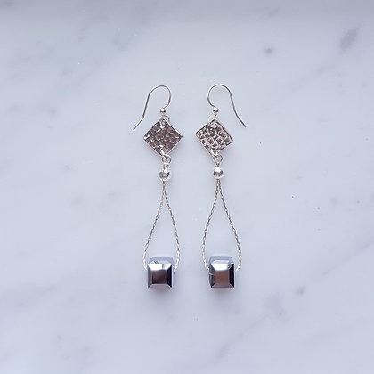 Crystal Cube Hoop Drop (with silver chain) Hook Earrings in Crystal Light Chrome