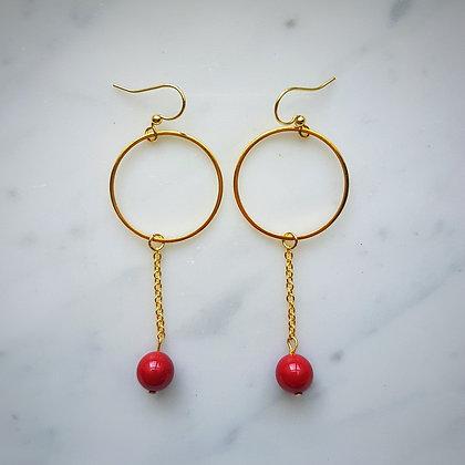 Pearl Drop (Coral Red) Hoop Hook Earrings in Gold