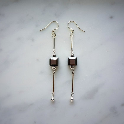 Crystal Cube Drop (with silver chain) Hook Earrings in Crystal Light Chrome