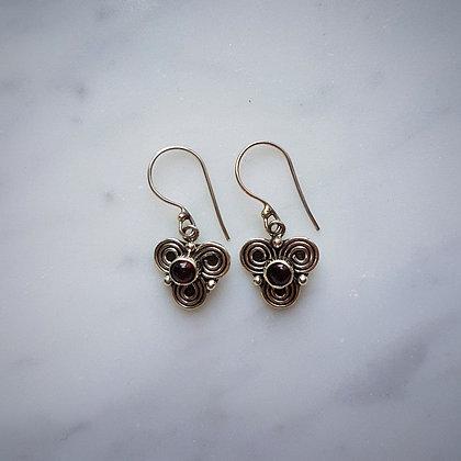 (Style 1) Garnet Cabochon Drop Earrings in Sterling Silver