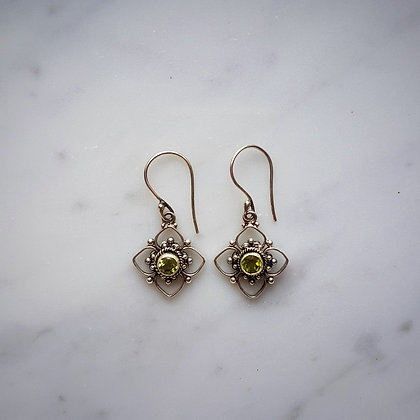 (Style 7) Peridot Facet Drop Earrings in Sterling Silver