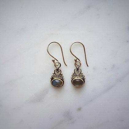 (Style 9) Rainbow Moonstone Drop Earrings in Sterling Silver