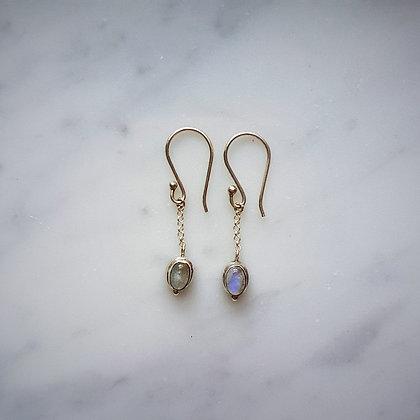 (Style 12) Rainbow Moonstone Drop Earrings in Sterling Silver