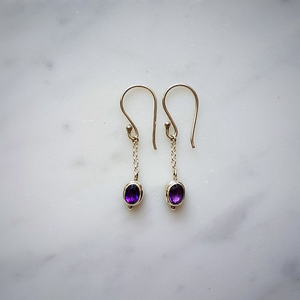 (Style 12) Amethyst Facet Drop Earrings in Sterling Silver