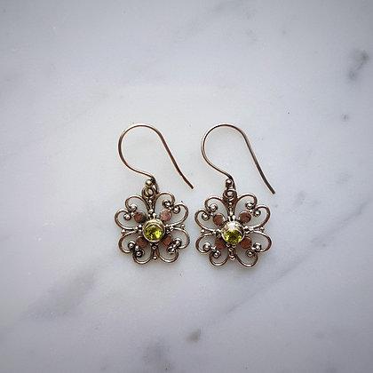 (Style 10) Peridot Facet Drop Earrings in Sterling Silver