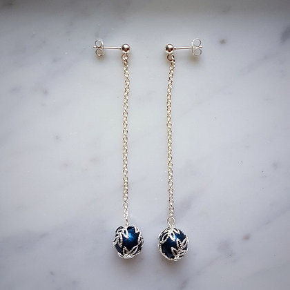 Pearl Drop (with silver chain) Stud Earrings in Petrol