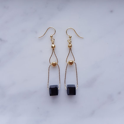 Crystal Cube Double Loop Drop (with gold chain) Hook Earrings in Jet Black