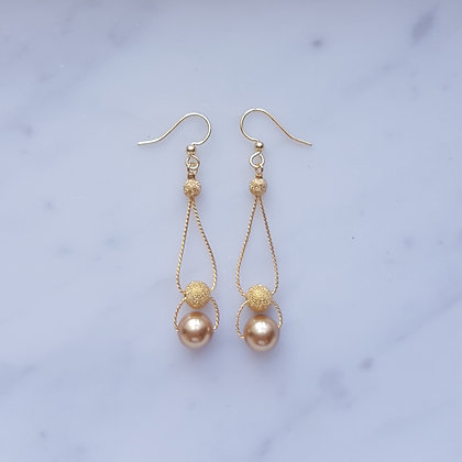 Stardust bead with Pearl Drop (Gold) Hook Earrings in Gold (Model)