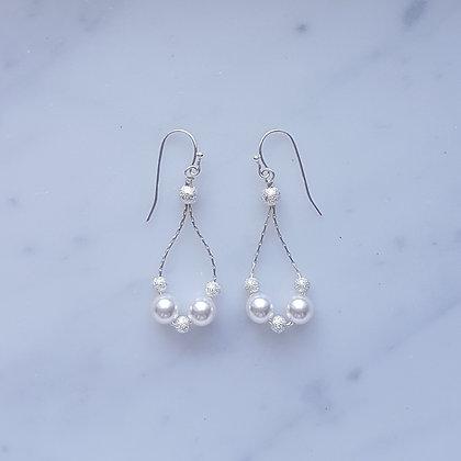 Stardust bead with Pearl Hoop (White) Hook Earrings