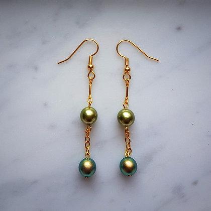 Pearls Drop Hook Earrings in Shades of Green