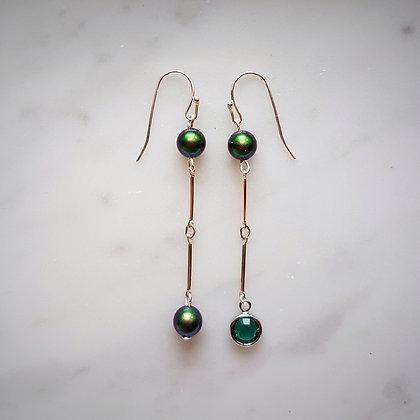 Pearls (Scarabaeus Green) and Crystal Drop Hook Earrings in Silver