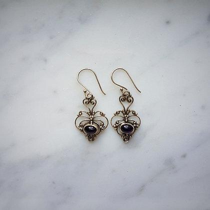 (Style 4) Amethyst Cabochon Drop Earrings in Sterling Silver