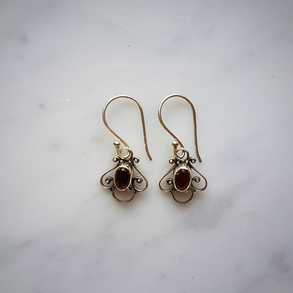 (Style 5) Amber Drop Earrings in Sterling Silver