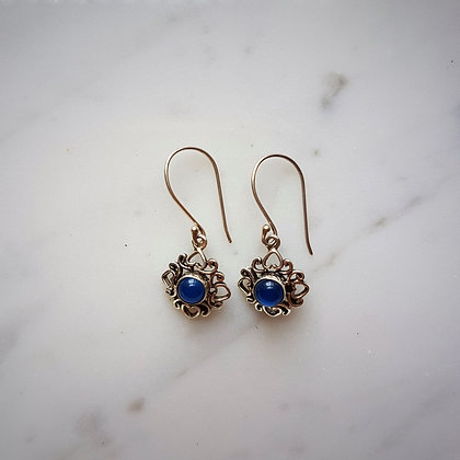 (Style 11) Blue Agatha Drop Earrings in Sterling Silver