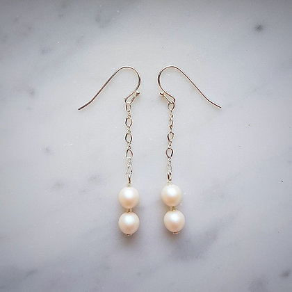 Pearls Drop (with silver chain) Hook Earrings in Pearlescent White