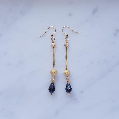 Stardust bead with Drop bead (Jet black) Hook Earrings