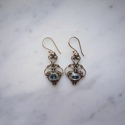 (Style 4) Blue Topaz Drop Earrings in Sterling Silver