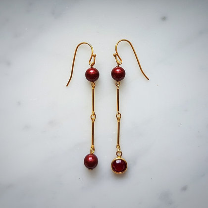 Pearls (Bordeaux) and Crystal Hook Earrings in Gold