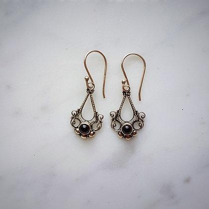 (Style 13) Garnet Cabochon Drop Earrings in Sterling Silver