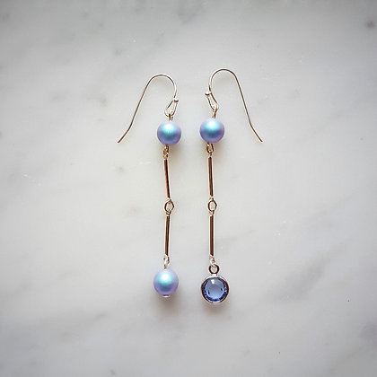Pearls (Iridescent Light Blue) and Crystal Drop Hook Earrings in Silver