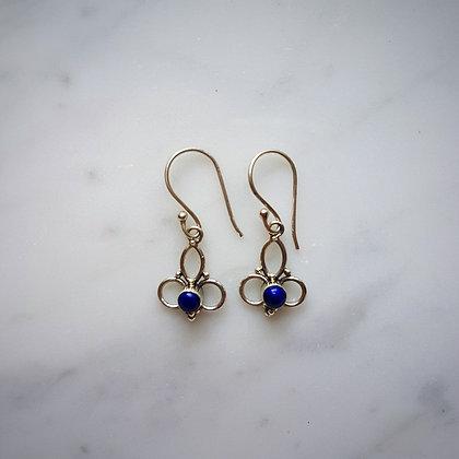 (Style 8) Lapis Lazuli Drop Earrings in Sterling Silver
