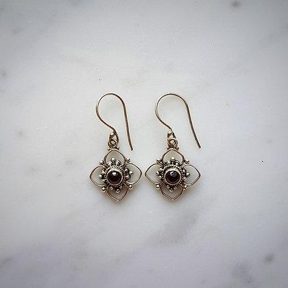 (Style 7) Garnet Cabochon Drop Earrings in Sterling Silver