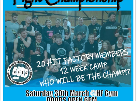 Fight camp championship 2/ Blue Light Fundraiser Saturday 30th March