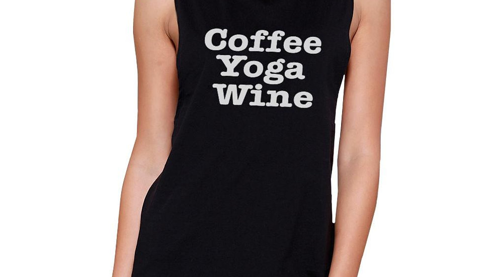 Coffee Yoga Wine Work Out Muscle Tee Cute Workout Sleeveless Tank