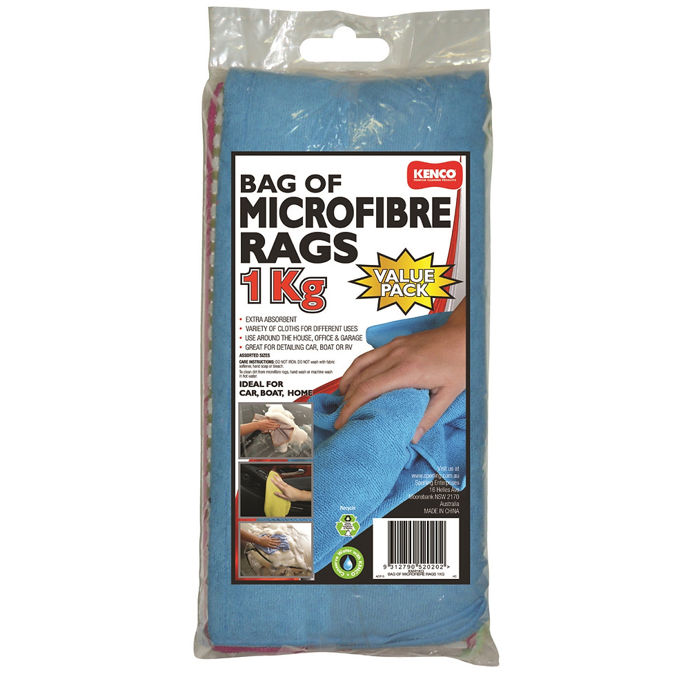 Kenco 1kg Assorted Microfibre Rags