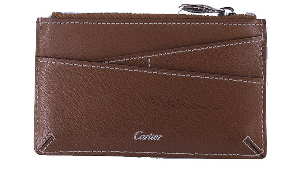 Cartier Collection Les Masts Key Ring with Coin Case Key Pouch Leather Brown