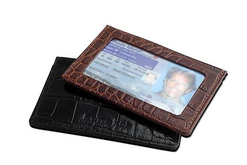 DataSafe RFID Shielding Italian Leather Croc Embossed Deluxe Slim Credit Card Wa