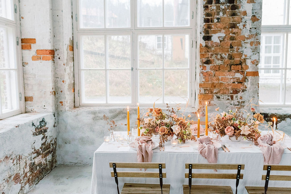 Sustainable wedding decor for eco-conscious bride. Naturally dyed silk ribbons and styling fabrics