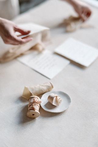 Bridal bouquet silk ribbons.