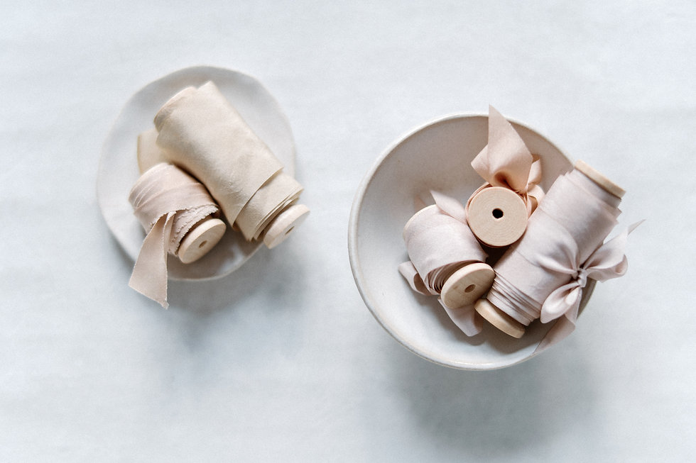 Naturally dyed silk ribbons and styling fabrics for event styling and decor
