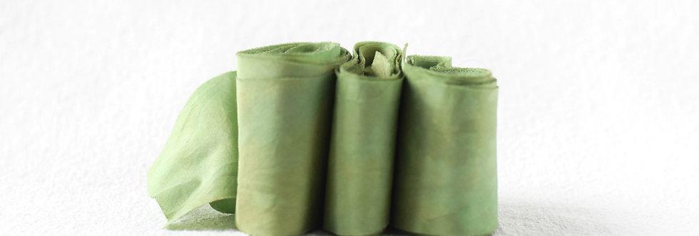Vert Fougère ( fern green ) - Artisan Silk Ribbon