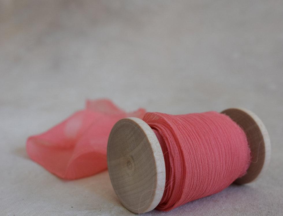 coral crinkle silk ribbon