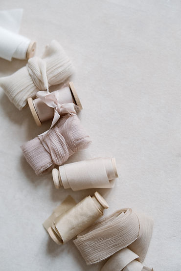Silk ribbon and wooden spool.