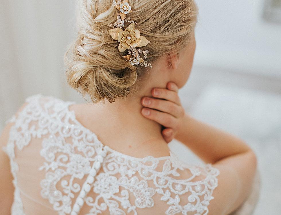 Crescent Floral Hair Comb