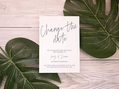 Change The Date | Postponement Card | Coronavirus | Wedding Date Change