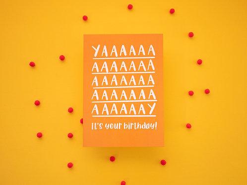 YAAAY It's Your Birthday Greeting Card | Birthday Card | Celebration | Funny