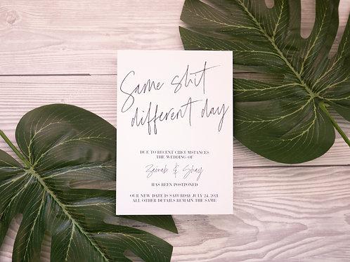 Same Shit | Postponement Card | Coronavirus Card | Wedding Date Change
